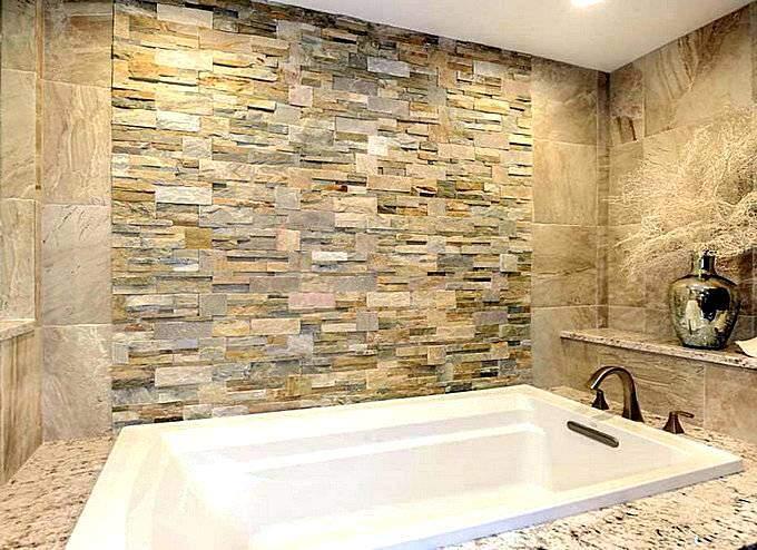 Современный дизайн ванной с отделкой искуственным камнем