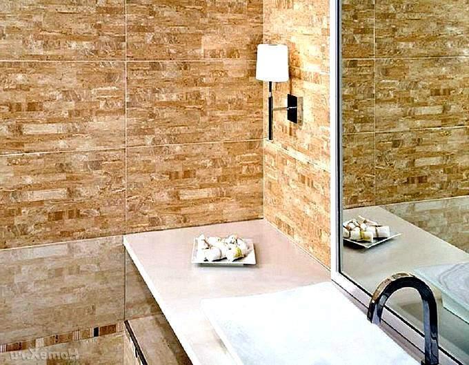 Плитка в ванной с имитацией камня