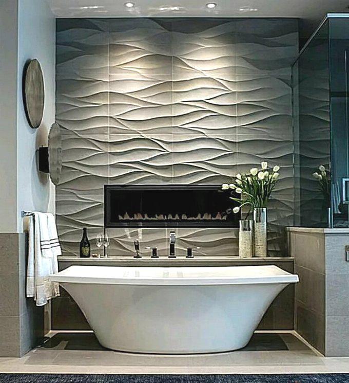 Керамическая плитка в ванной с рельефным узором