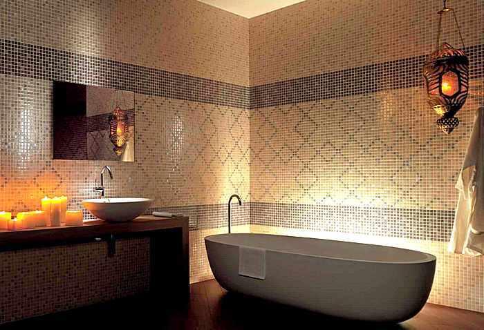Современный дизайн ванной комнаты с мозаикой