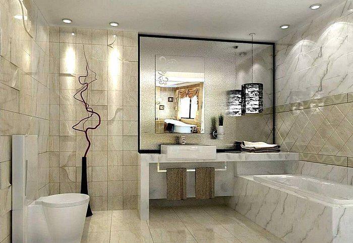 Ванная комната с отделкой под мрамор