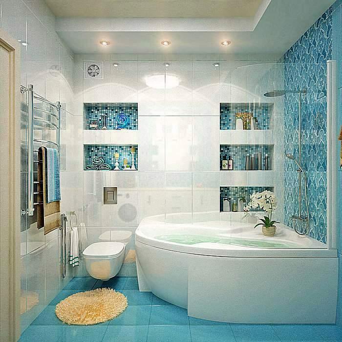 Ванная комната в бело-голубых тонах