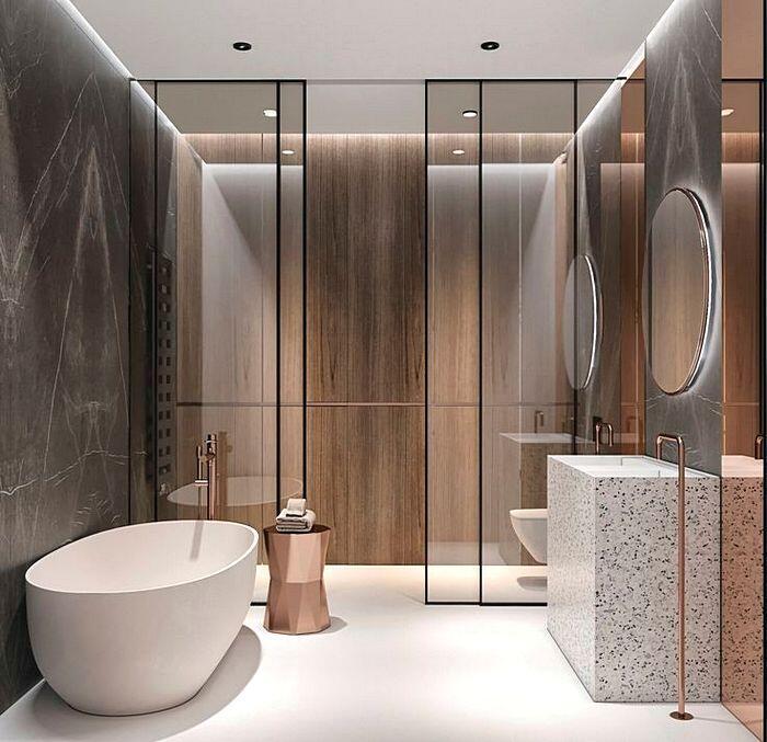 Имитация природных материалов в отделке ванной