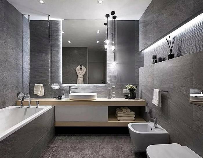 Отделка ванной комнаты под бетон