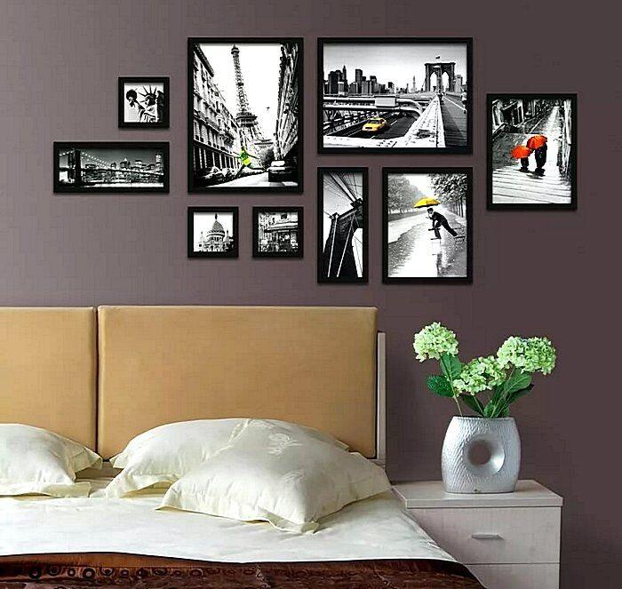 Асимметричное расположение картин в спальне