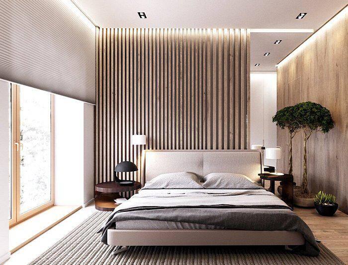 Асимметричное расположение панелей в интерьере спальни