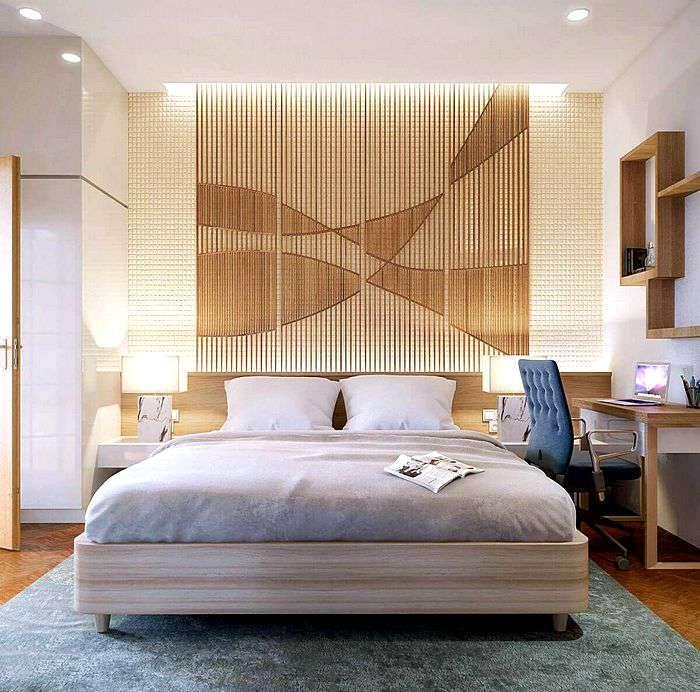 Декор в спальной комнате из натуральных материалов