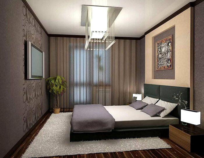 Дизайн спальни 12 кв.м в коричневых тонах