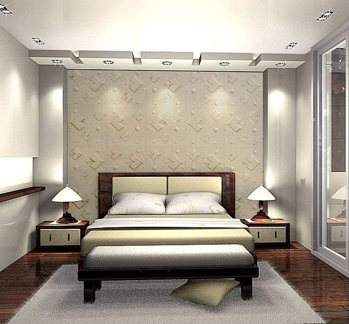 Кровать с овальными углами в спальне