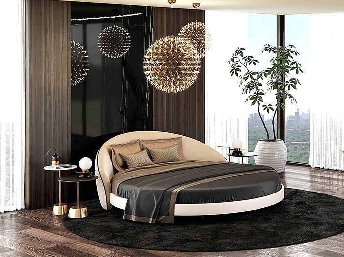 Мебель овальной формы в спальне
