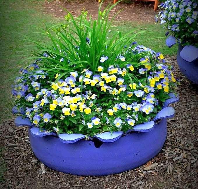 Клумба для цветов из вывернутой покрышки