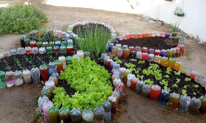 Грядка-цветок из пластиковых бутылок