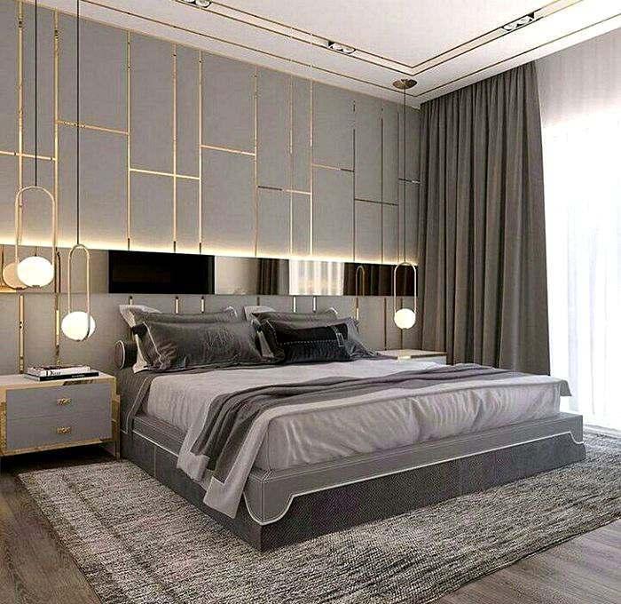 Дизайн спальной комнаты в серых тонах