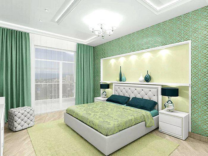 Красивый дизайн спальной комнаты в зеленых тонах
