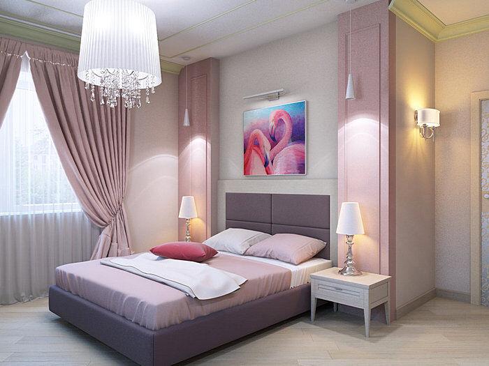 Красивый дизайн спальной комнаты в розовых тонах