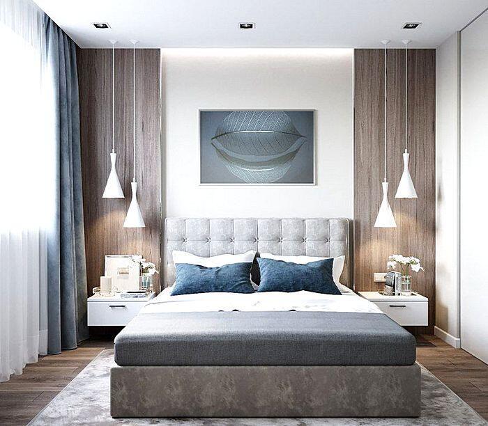 Модный дизайн спальной комнаты в серо-голубых тонах