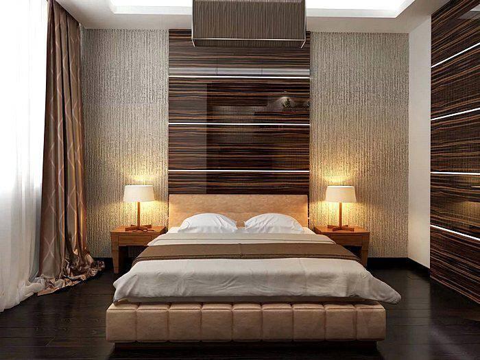 Модный дизайн спальной комнаты в коричневых тонах