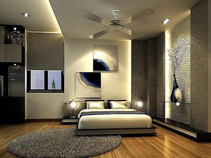 Модный дизайн спальной комнаты в бронзовом цвете