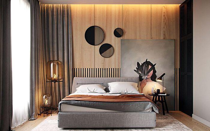 Модный дизайн спальной комнаты с оригинальным декором