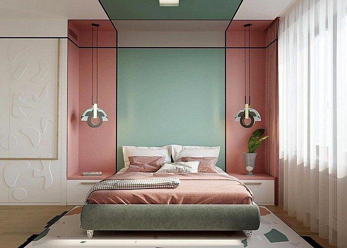 Модный дизайн спальной комнаты в цвете марсала