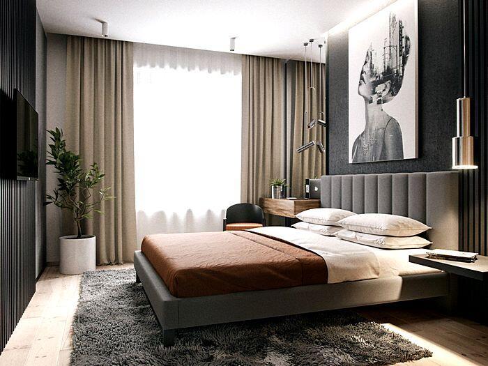 Модный интерьер спальной комнаты в коричневых тонах
