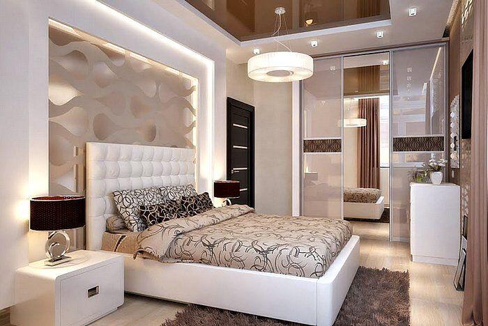 Модный интерьер спальной комнаты в светлых тонах