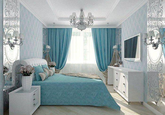 Спальная комната в голубых тонах