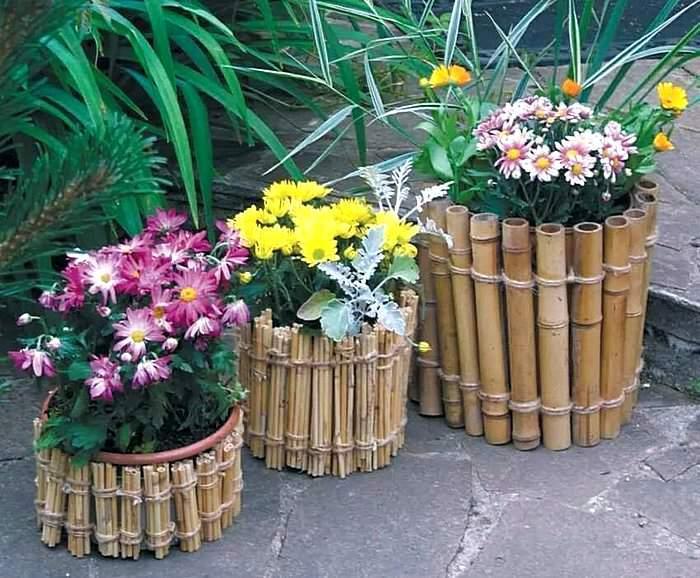 Вазоны для цветов из бамбука