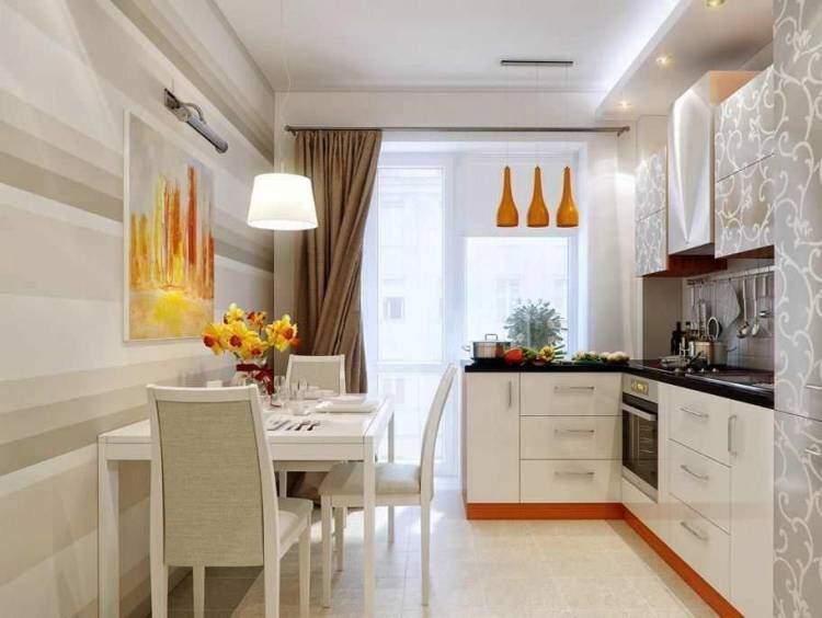 Дизайн маленькой кухни в современном стиле с оранжевыми акцентами