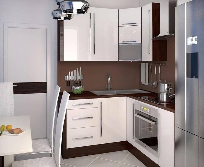 Дизайн маленькой кухни с угловой мебелью