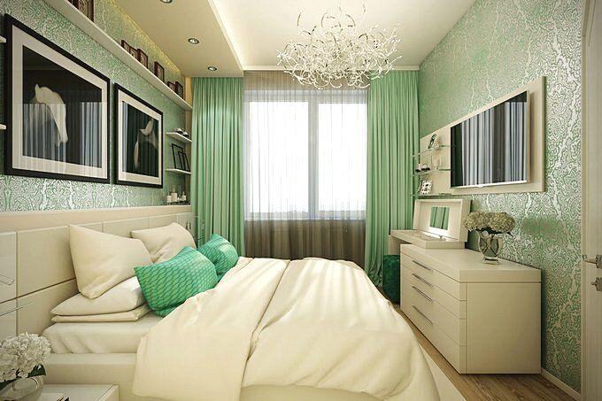 Дизайн спальни 12 кв.м в зеленых тонах