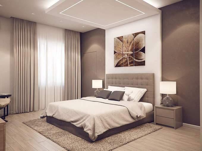 Дизайн спальни в совремнном стиле в коричневых тонах