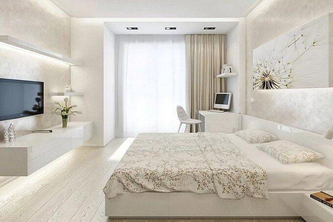 Дизайн спальни в современном стиле в светлых тонах 15 кв.м