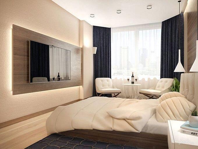 Дизайн спальни 15 кв.м в бежевых тонах