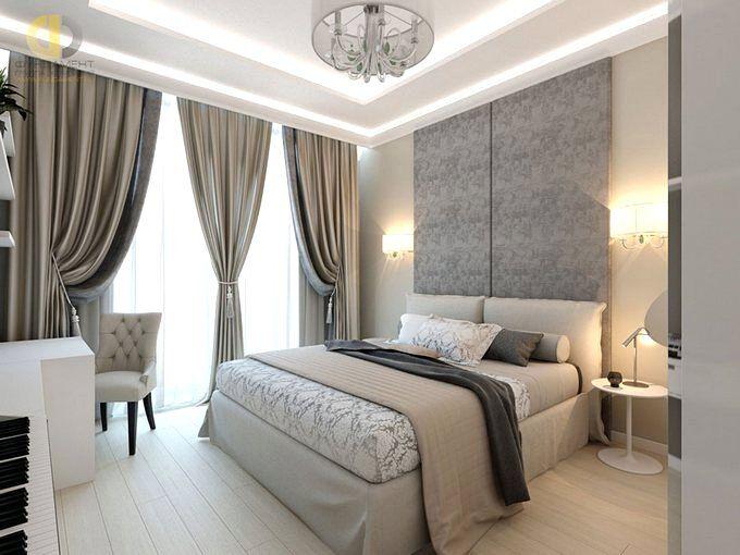 Дизайн спальни 15 кв.м в серых тонах