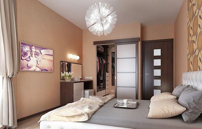 Дизайн спальни 18 кв.м в светло-коричневых тонах