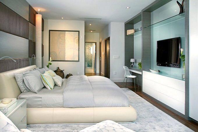 Дизайн спальни 18 кв.м в серо-голубых тонах
