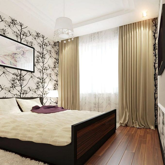 Спальня 9 кв.м с бежевыми шторами
