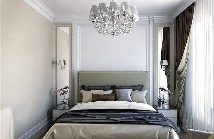 Спальня 9 кв.м в серо-голубых тонах