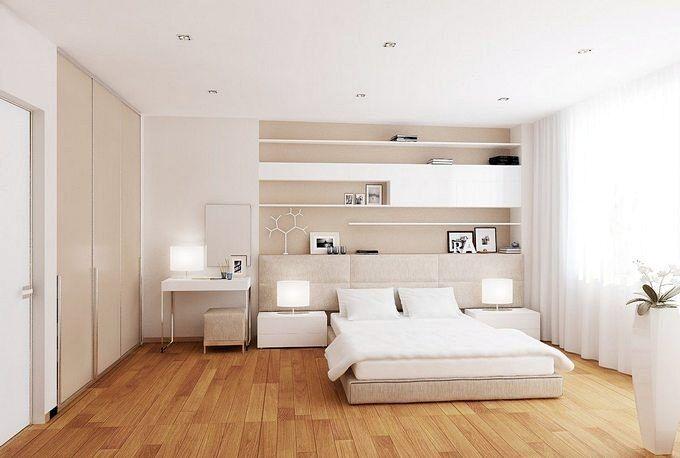 Дизайн спальни в розовых тонах со светлой мебелью