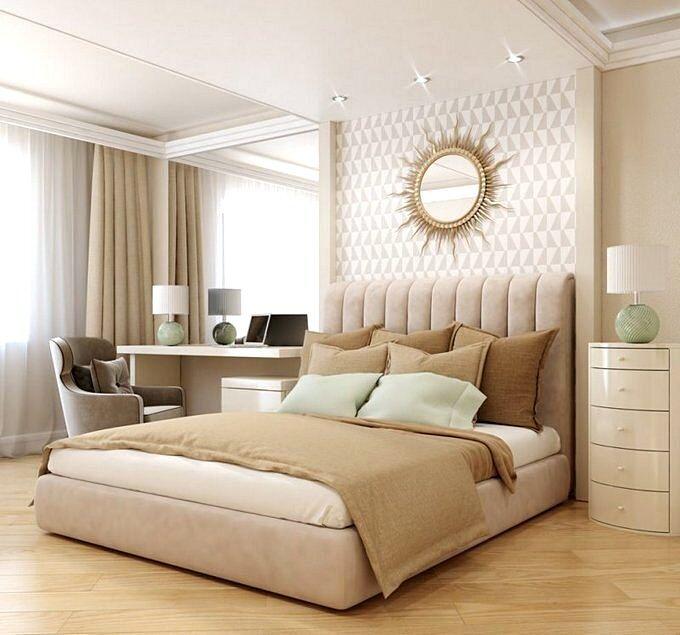 Современная спальня со светлой мебелью