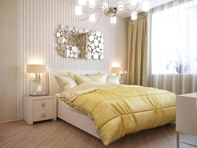 Дизайн современной спальни со светлой мебелью