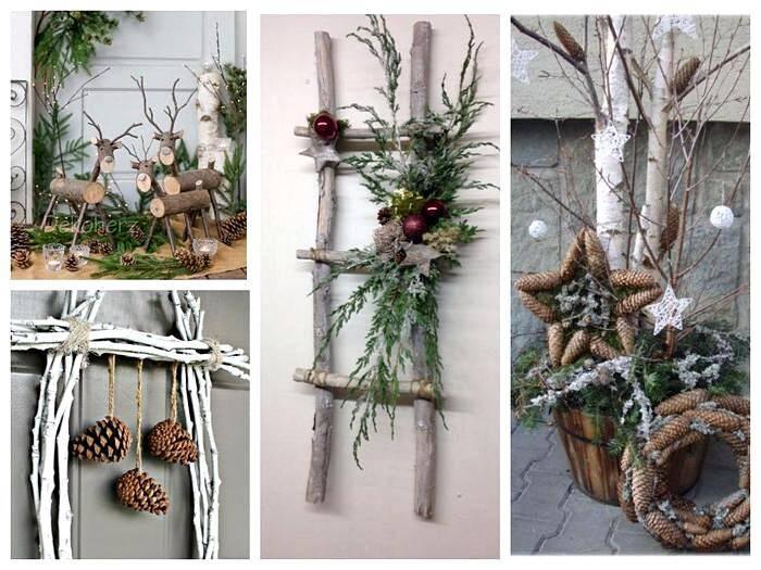 Новогоднее украшение комнаты в экостиле