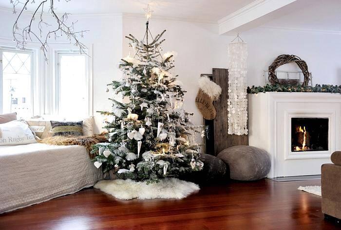 Новогоднее украшение комнаты в скандинавском стиле