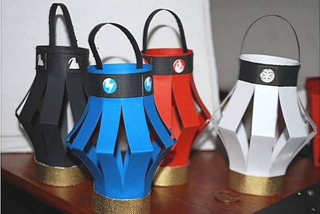 Новогодние фонарики из цветной бумаги