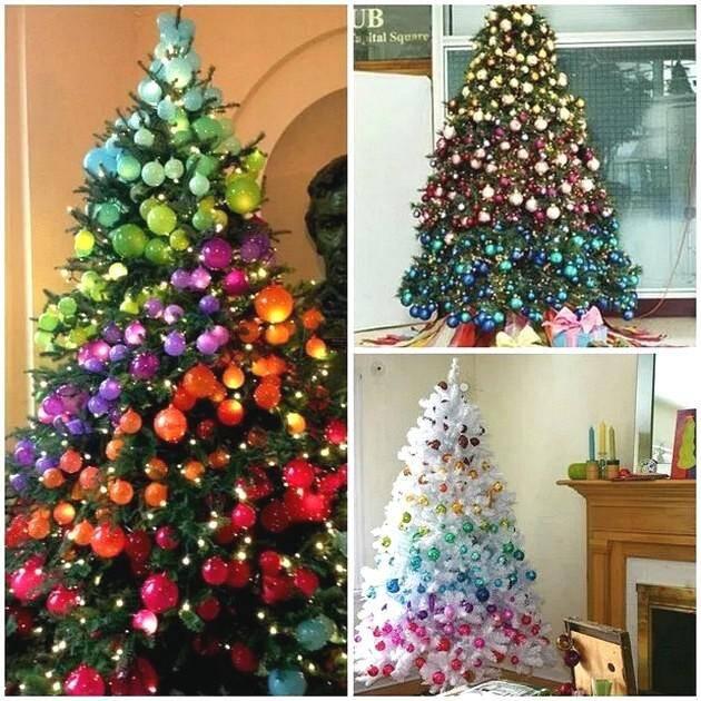 Новогодняя елка в радужных тонах