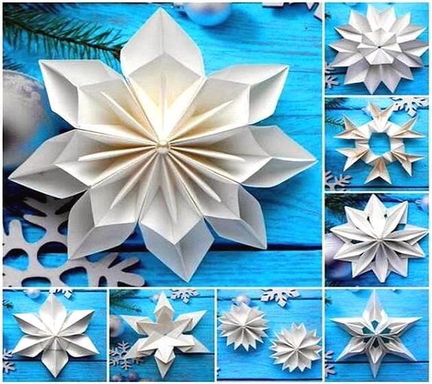 Оригинальные снежинки из бумаги