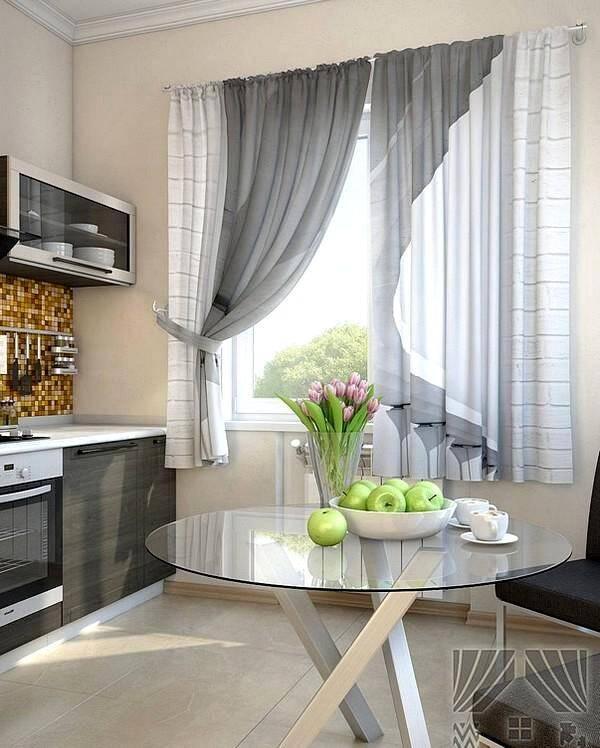 Серые шторы для современной кухни