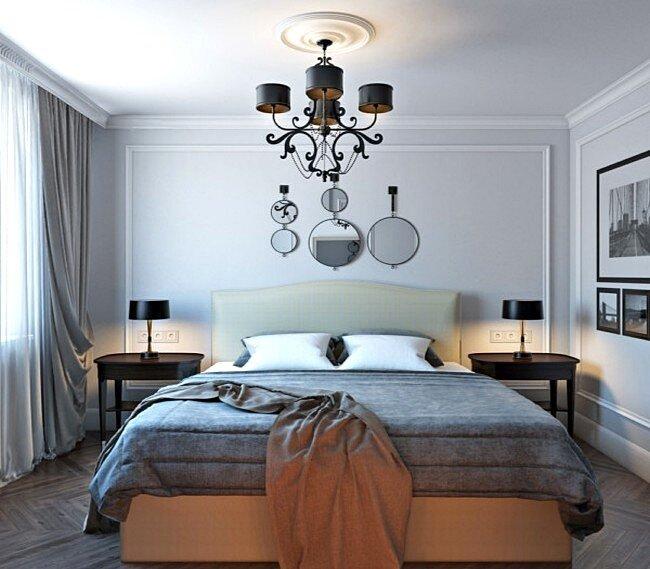 Современная люстра в спальне