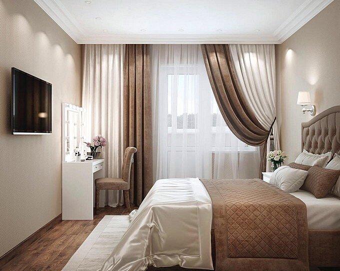 Комбинированные шторы для современной спальни